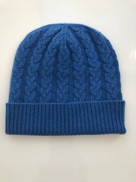 3-ply Beanies | Isfahan Blue Cable Knit