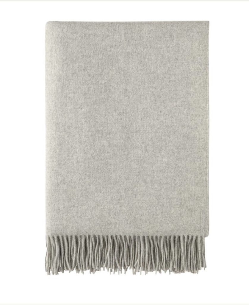 Plain Cashmere Throw - Silver