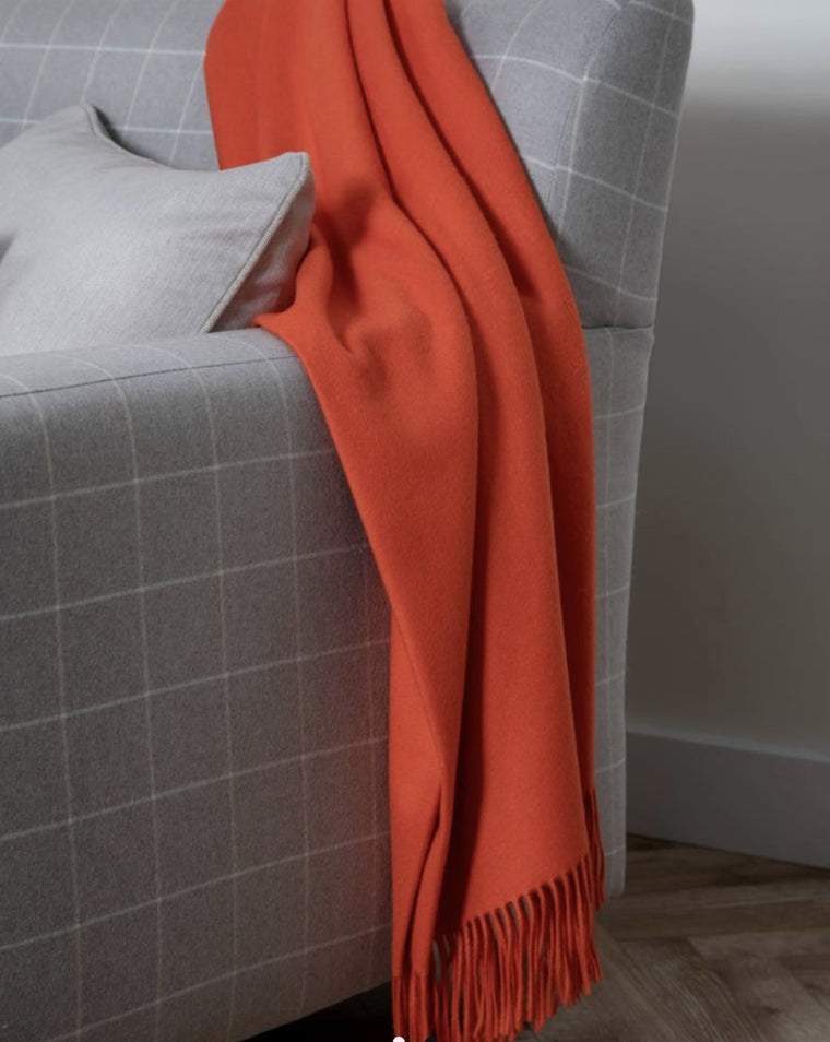 Plain Cashmere Throw - Vermillion Orange