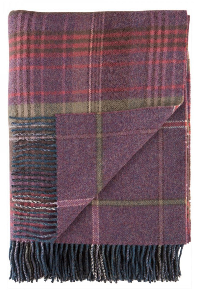 Lambswool Double Face Check Throw | Heather