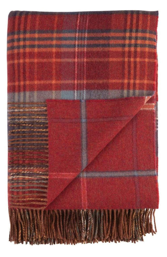 Lambswool Double Face Check Throw | Russett