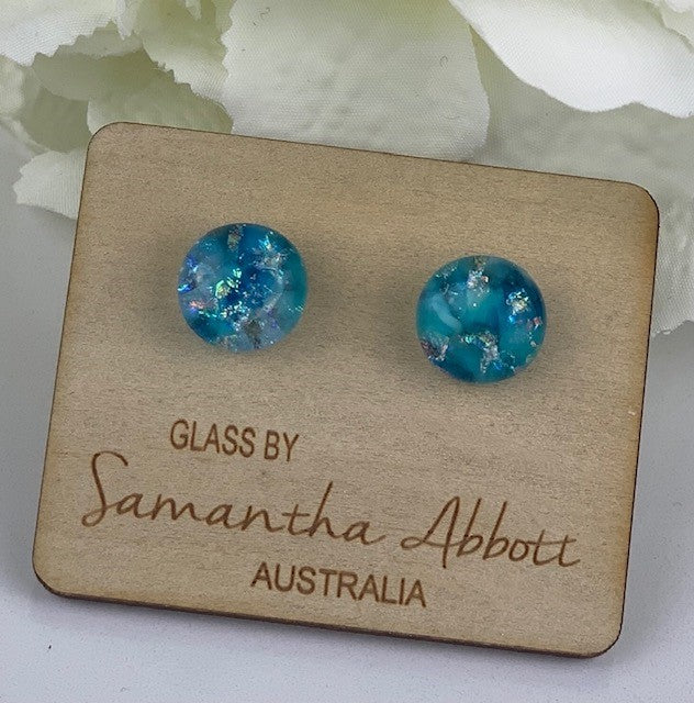 Samantha Abbott - Denim Blue glass stud earrings