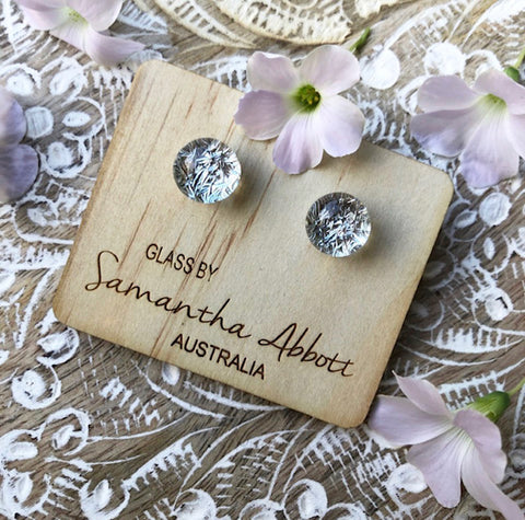 Samantha Abbott - Silver glass stud earrings