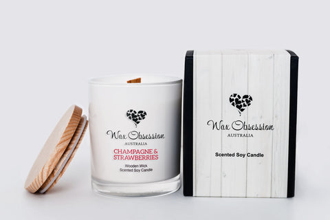 Champagne & Strawberries - Wooden Wick Candle