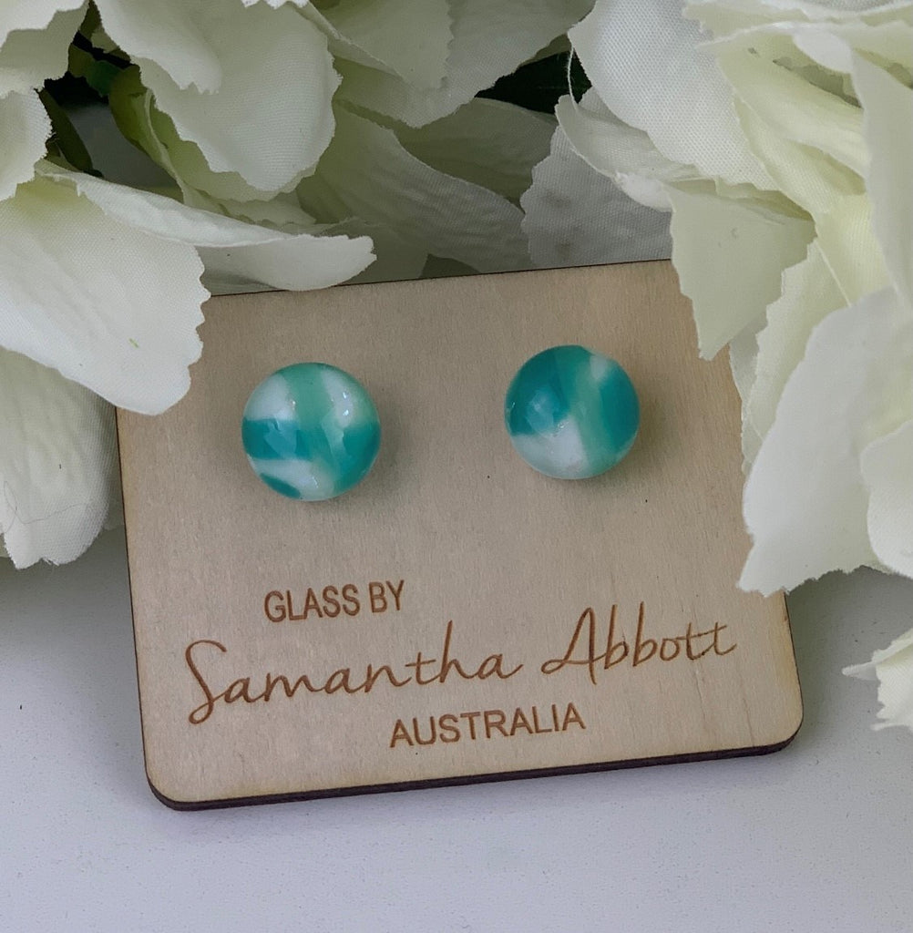 Samantha Abbott - Teal White glass stud earrings