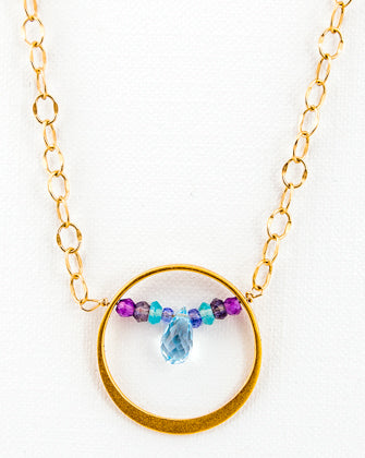 24k Gold Vermeil Ring with Gemstones Necklace