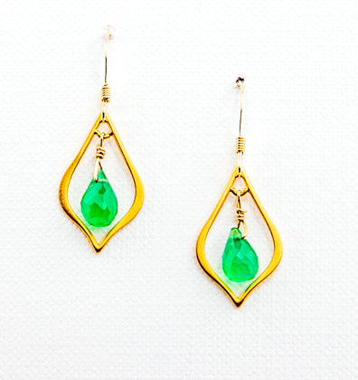 24k Gold Vermeil Small Teardrop with Gemstone