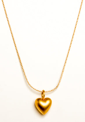 24k Gold Vermeil Puffed Heart Necklace