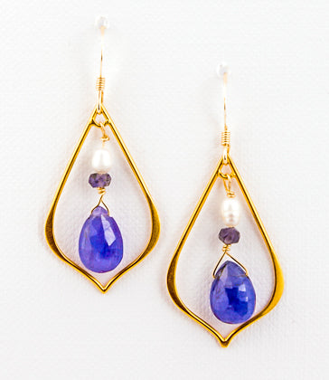 24k Gold Vermeil Medium Teardrop with Gemstones
