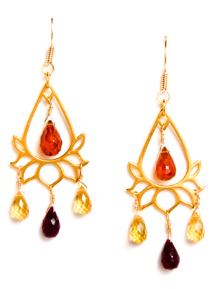 24k Gold Vermeil Teardrop Lotus Earrings with Gemstones