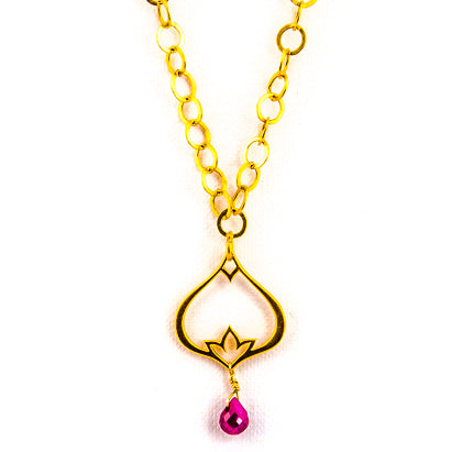 24k Gold Teardrop Poppy & Gemstone Necklace