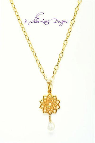 Alea Lani Designs Crown Chakra Necklace with Moonstone Gemstones