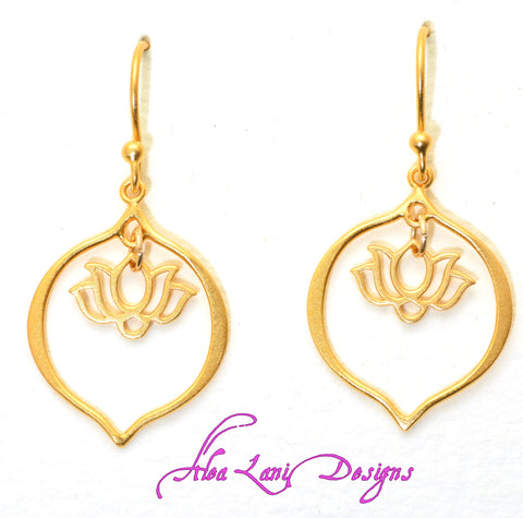 24k gold vermeil small lotus in lotus petal earrings