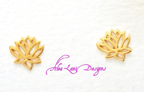 24k Gold Vermeil Lotus post earrings