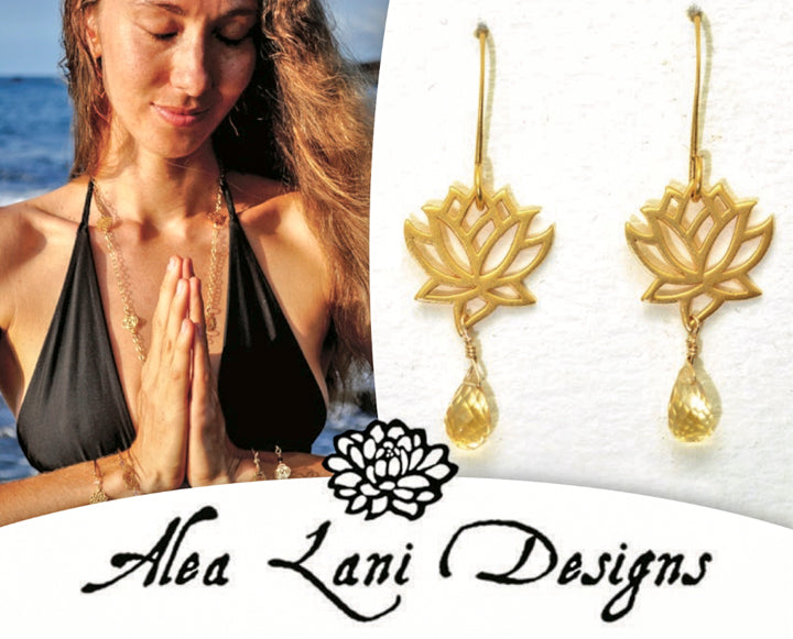 24k Gold Vermeil Heart Chakra -Anahata- Lotus Petal Chakra Earrings with Green Chalcedony Teardrop