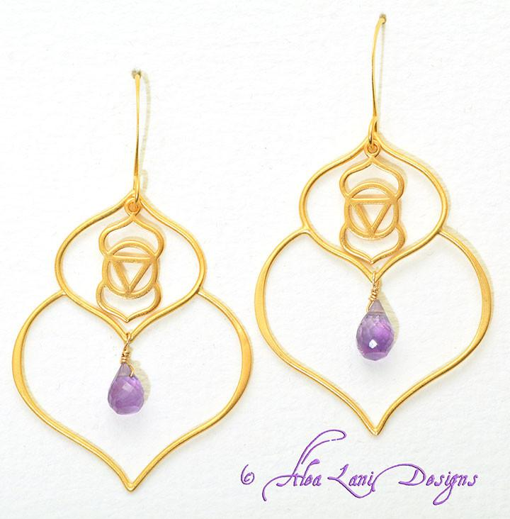 24k Gold Vermeil Third Eye -Ajna- Double Lotus Petal Chakra Yantra Earrings with Amethyst Teardrop