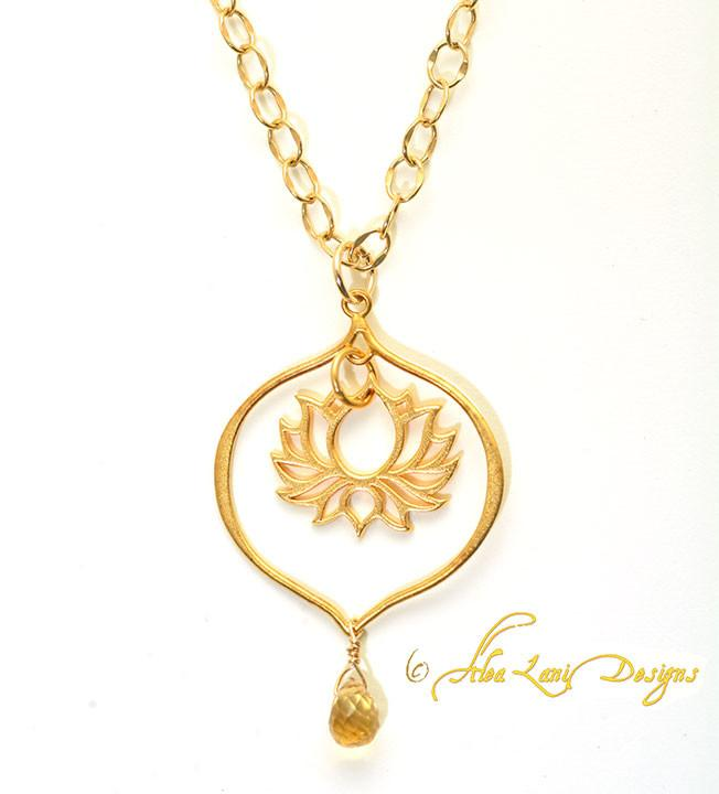 24k Gold Vermeil Large Lotus in Lotus Petal Earrings