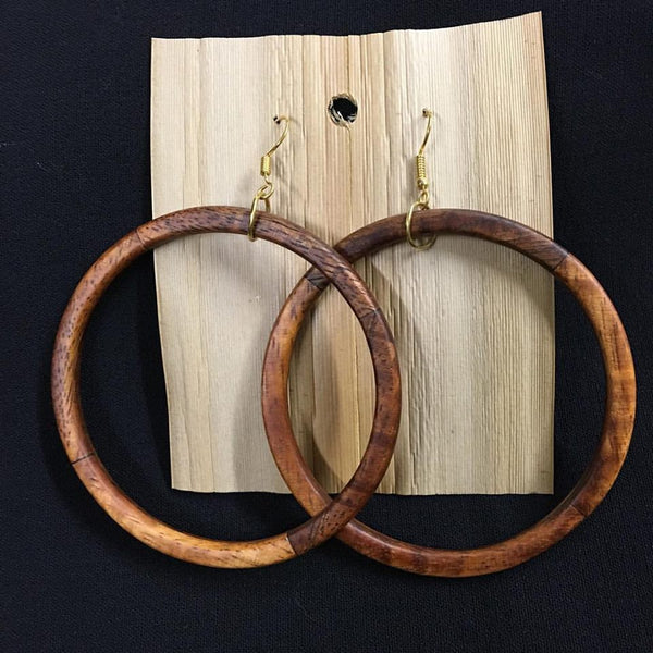 Honua Hoops Koa Earrings