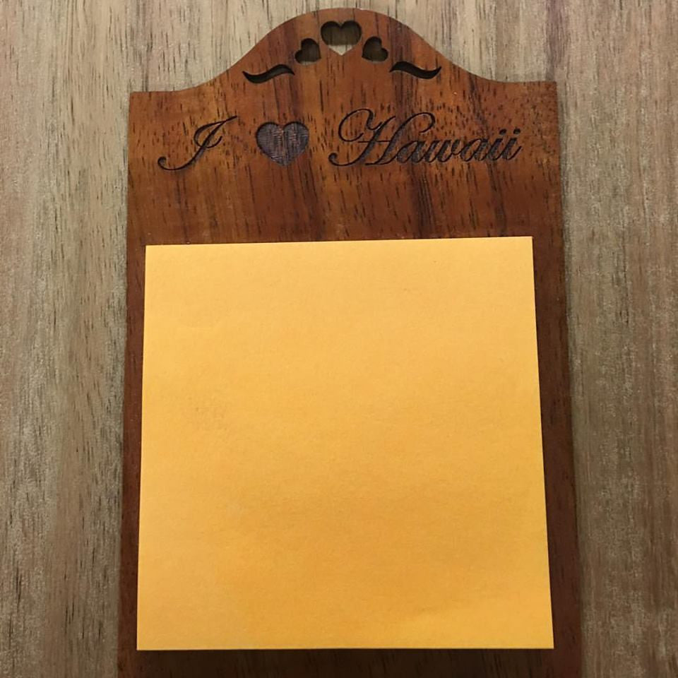 Koa Notepad Holder - Hawaii Bookmark