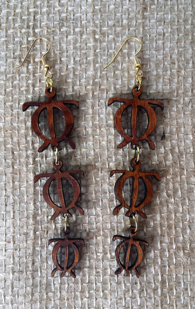 Honu 'Ohana Koa Earrings - Hawaii Bookmark