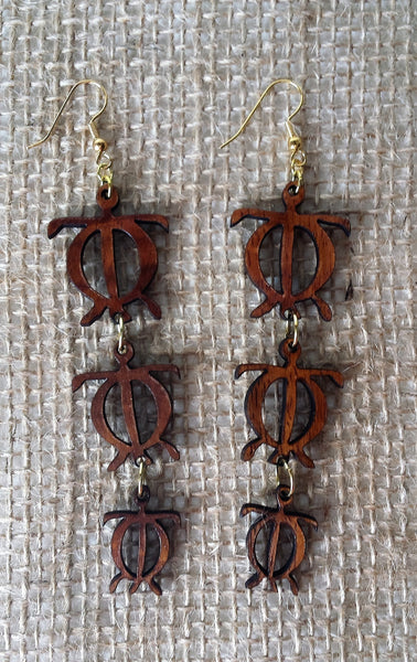 Honu 'Ohana koa earrings