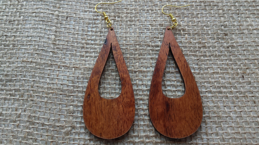 Peleʻs Tears Koa Earrings - Hawaii Bookmark