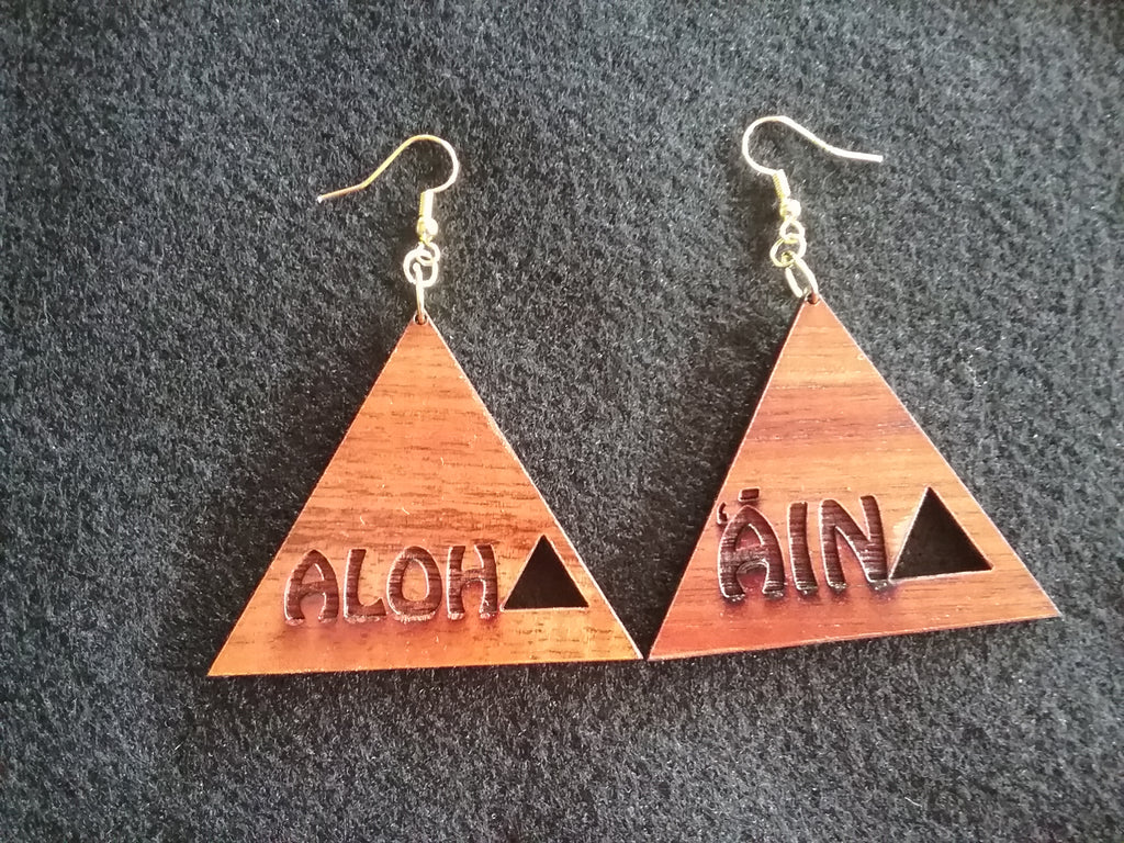 Aloha 'Āina Koa Earrings - Hawaii Bookmark