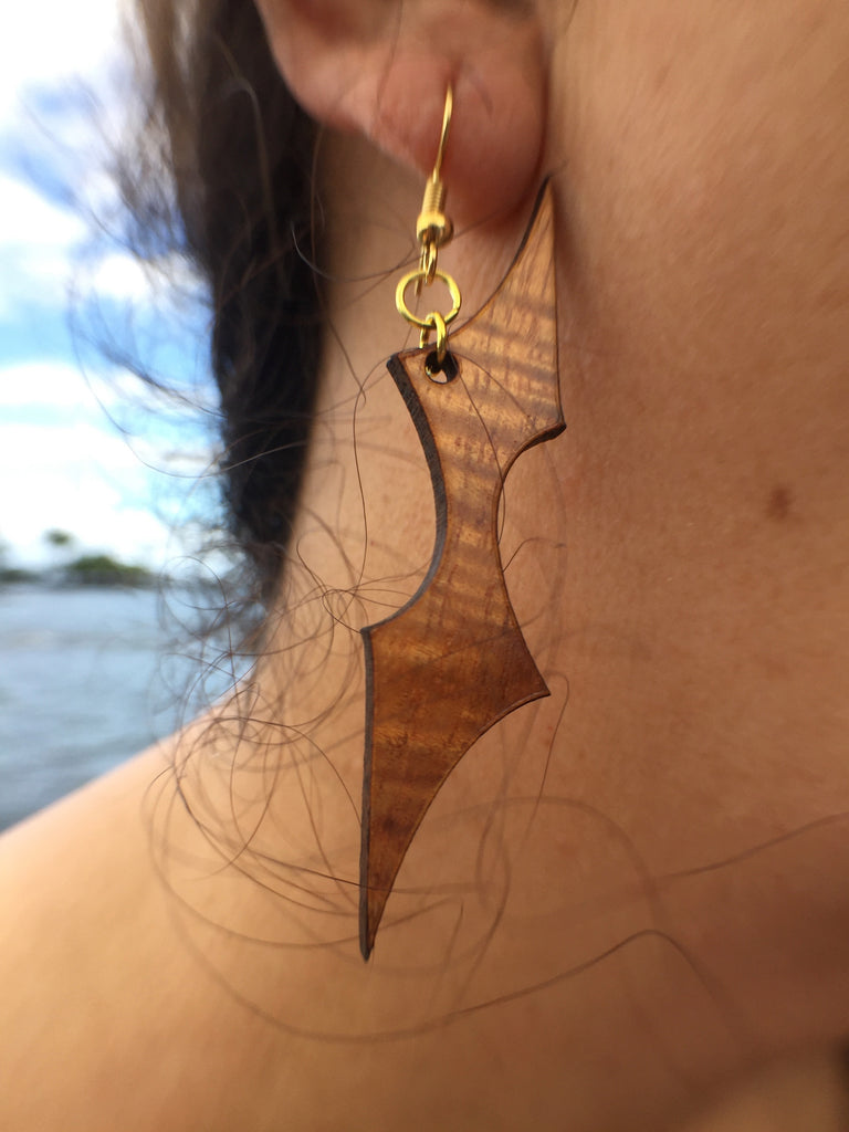'Ōpe'ape'a Kāpala Koa Earrings - Hawaii Bookmark