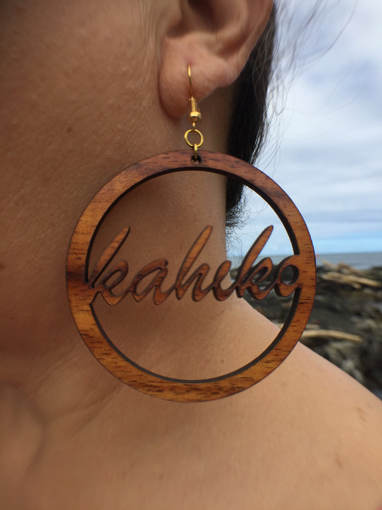 Hula Kahiko Koa Earrings - Hawaii Bookmark