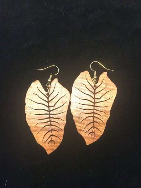 Kalo, Koa Earrings
