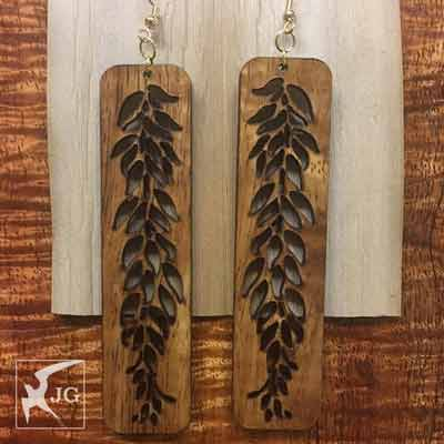 Maile Koa Earrings - Hawaii Bookmark
