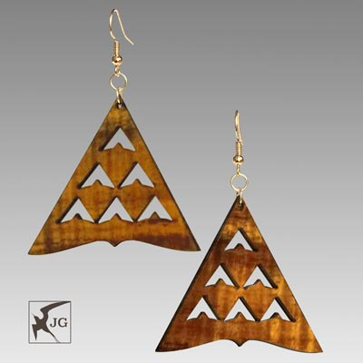 Manu Mauna Koa Earrings - Hawaii Bookmark