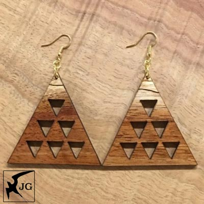 Mauna Poli'ahu Koa Earrings - Hawaii Bookmark