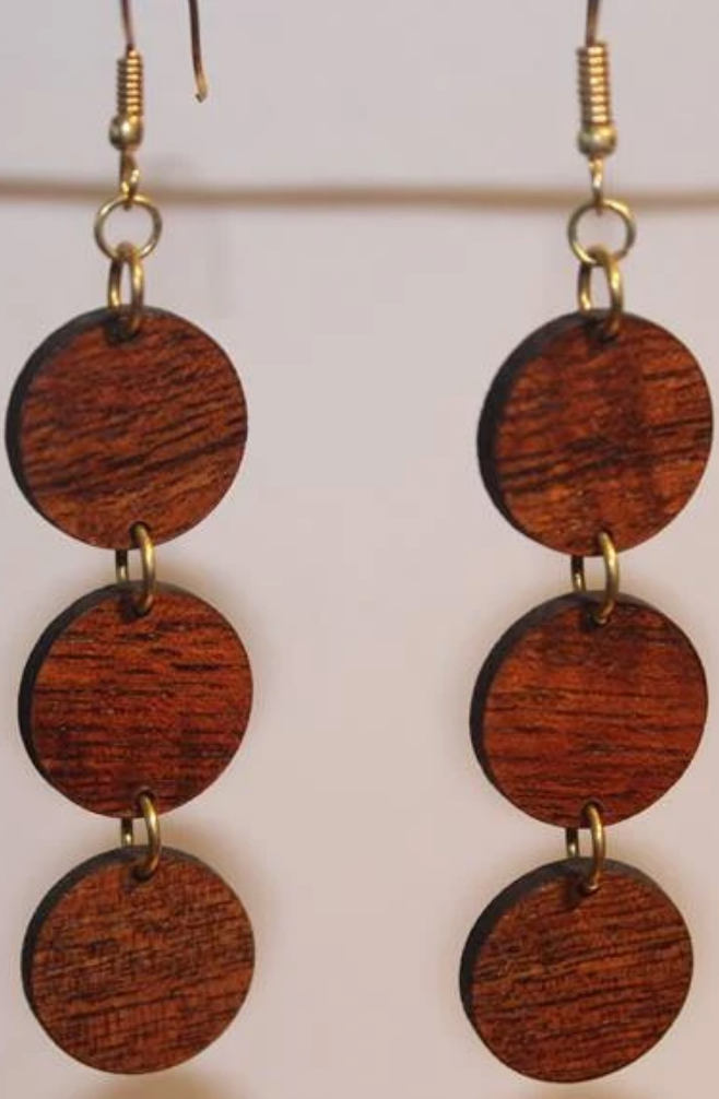 Mahina Dangle Koa Earrings - Hawaii Bookmark