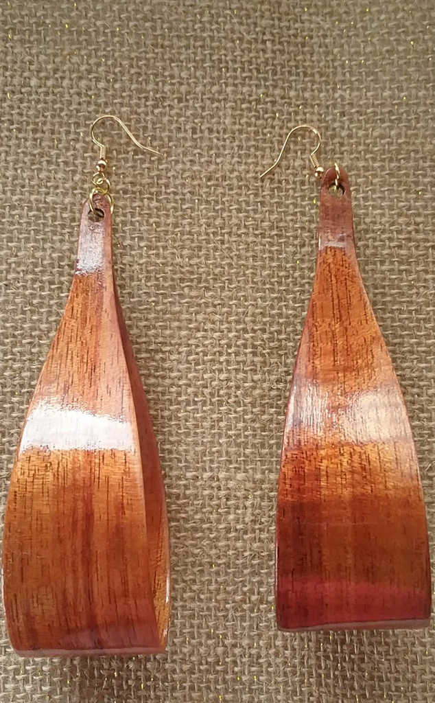 Lipine Nui Koa Earrings - Hawaii Bookmark