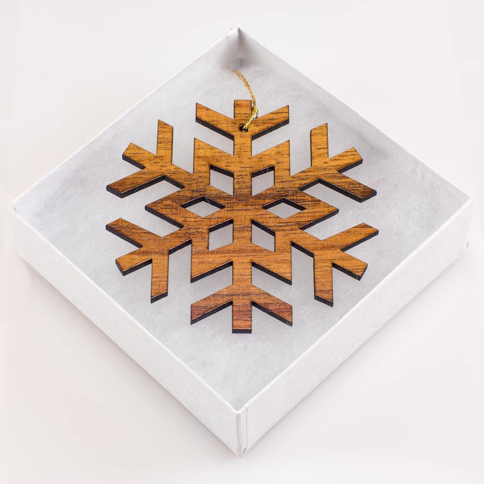 Festive Haukea 'Ekahi Snowflake Holiday Koa Ornament - Hawaii Bookmark