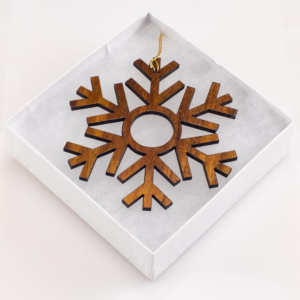 Festive Haukea 'Elua Snowflake Holiday Koa Ornament - Hawaii Bookmark