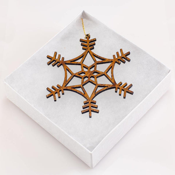 Festive Haukea 'Ekolu Snowflake Holiday Koa Ornament - Hawaii Bookmark