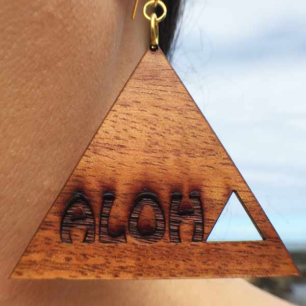 Aloha Koa Earrings - Hawaii Bookmark