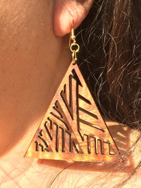 Hala Koa Wood Earrings - Hawaii Bookmark