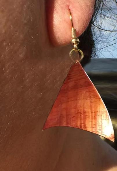Poholua Nui Koa Earrings - Hawaii Bookmark