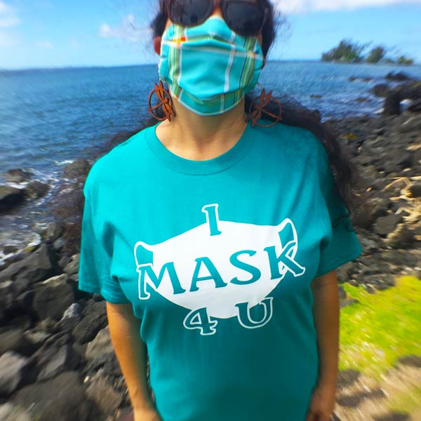 "Trendy T-Shirt ""I Mask 4 U"" - Hawaii Bookmark"