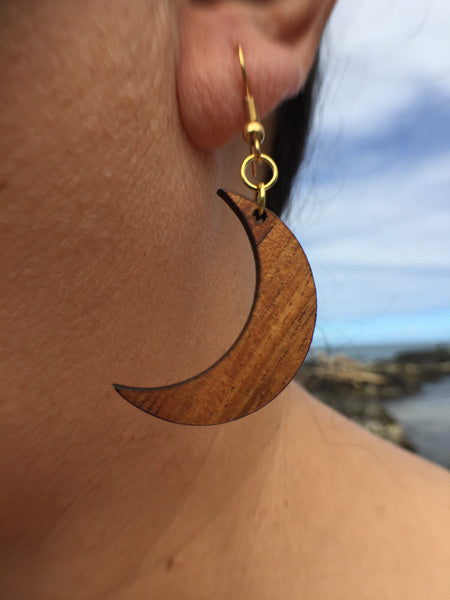 Hilo Koa Wood Earrings - Hawaii Bookmark