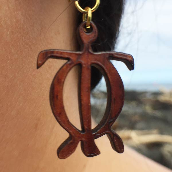 Honu Keiki Koa Earrings - Hawaii Bookmark