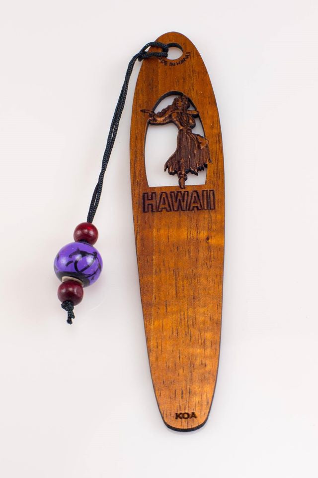 Hula Girl Dancing Koa Bookmark - Hawaii Bookmark