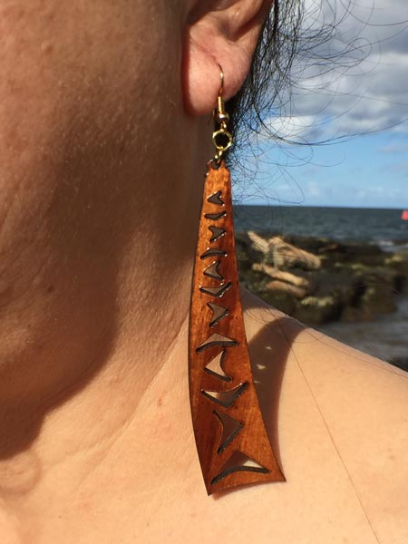 Manu Makani Koa Wood Earrings - Hawaii Bookmark