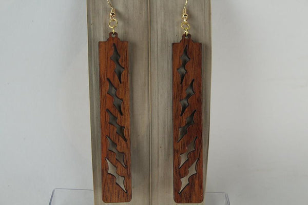 Opeapea Kapala Design Koa Earrings