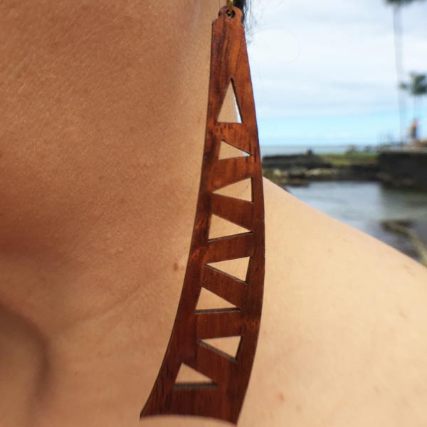 Mauka Koa Earrings - Hawaii Bookmark