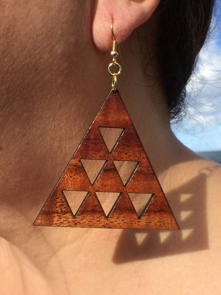 Da Mauna Koa Earrings - Hawaii Bookmark