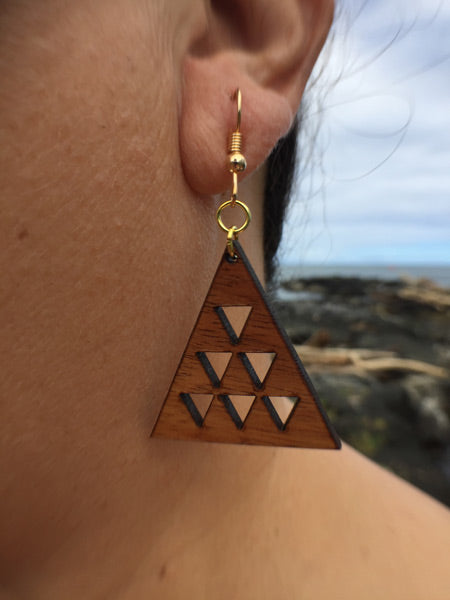 Mauna Li'i Koa Wood Earrings - Hawaii Bookmark